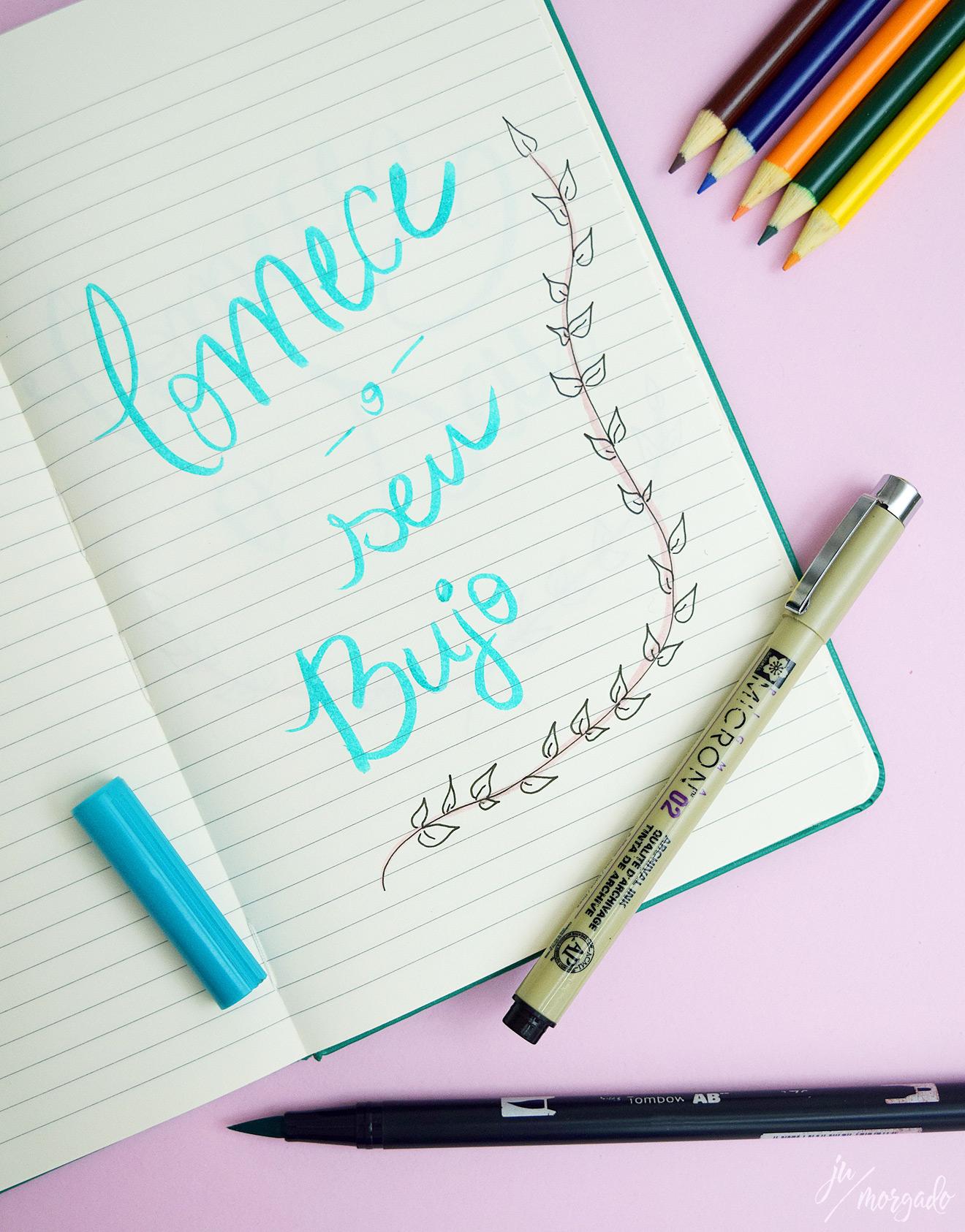Caderno de bullet journal escrito Comece seu Bujo