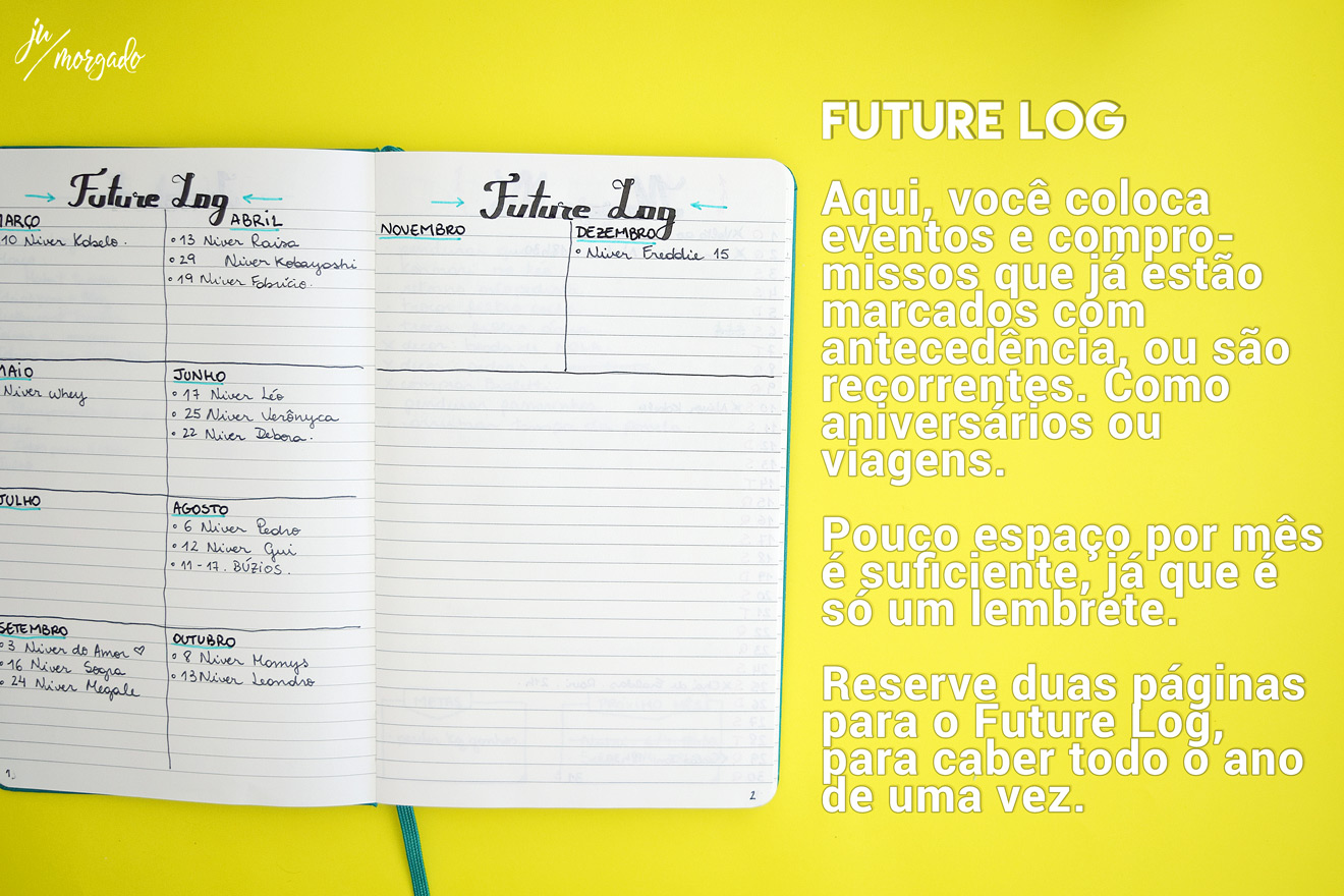 Página do future log do bujo, bullet journal